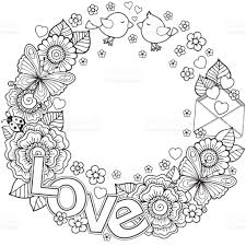 Vector Coloring Page For Adult Rounder Frame Made Of Flowers