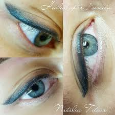 зажившие глазки после одной процедуры татуаж перманентный макияж