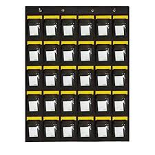 Hanging Pocket Chart Ozzptuu 30 Pockets Canvas Hanging Pocket Chart Wall Mount Cell Phones Storage Organizer With Cards Dark Grey