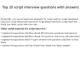 Examples Of Behavioral Interview Questions Top 10 Script Interview Questions With Answers