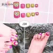 La Vis 24 Pcs Set False Toe Nail Tips With Glue Women Fake Toenails Full Cover For Nail Art Decoration