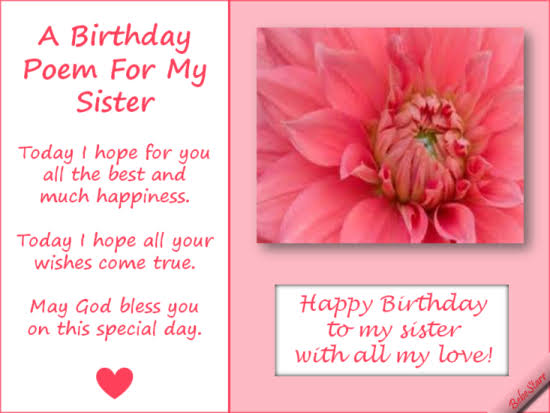 religious happy birthday sister poems