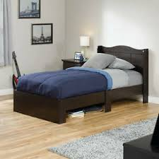 Details about Twin Size Bed Frame with Headboard Bedroom Furniture Wood Under Storage Platform