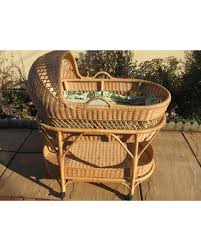 Deals on Vintage Wicker Bassinet On Wheels With Removable Carry And ...