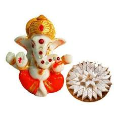 Order Lord Ganesh Idol with Kaju Katli Online at Rs. 1699/– Same Day  Delivery
