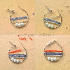 wire wrapped hoop earrings with seed
