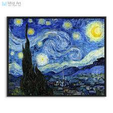 vincent van gogh famous artist starry night landscape oil canvas poster print impressionism big wall picture