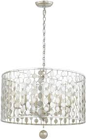 crystorama 546 sa layla contemporary antique silver drum hanging pendant light loading zoom