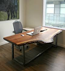 wood desks for office. View In Gallery Live Edge Walnut Desk With Distressed Steel Base Wood Desks For Office S
