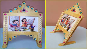 easy photo frame with popsicle ice cream sticks room decor ideas using simple craft trick