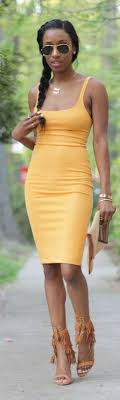 mustard bodycon dress summer style