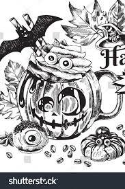 Happy <b>Halloween</b> Coffee, <b>Autumn Holiday</b> Hot Drink Illustration by ...
