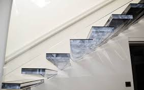 Cantilevered stairs in acrylic