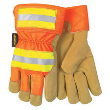 mcr safety high vis fleece lined luminator pigskin leather palm work gloves 19251