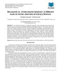 Pdf Structured Vs Unstructured Abstract A Different Look At