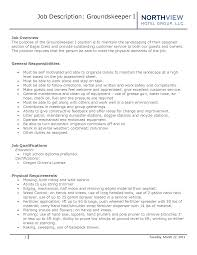 Groundskeeper Resume Cover Letter Best Template Collection