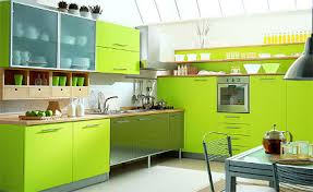 green kitchen cabinets - pea green Latini Erika kitchen - via Atticmag