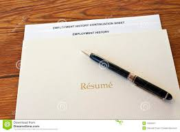 Resume Folder With Pen And Employment History Royalty Free Stock