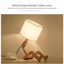 Diy Modern Lovely Robot Shape Wooden Table Lamp E27 Lamp Holder 110