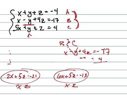 solve the system x y z 4 x y 4z 17 5x y z 4