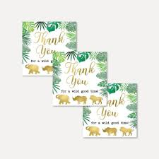 This thank you card features classic polka dots, a winner over the years. Printable Gold Safari Baby Shower Thank You Favor Tags Template Hadley Designs