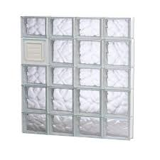 redi2set wavy glass pattern frameless replacement glass clear block window rough opening 32 in x 34 in actual 31 in x 32 75 in