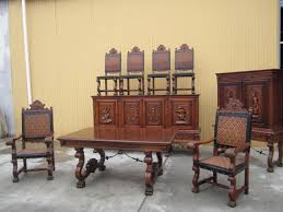 wonderful antique wooden chair designs combined with large wooden table placed near with antique cabinet which