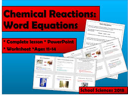 chemical reactions word equations