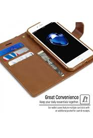 goospery mercury blue moon brown genuine leather mobile book cover case iphone 7