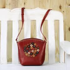 fl red leather sling handbag handmade in thailand crimson bouquet