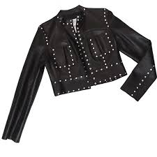 celine studs leather jacket black women s 40 size vintage used reebonz philippines