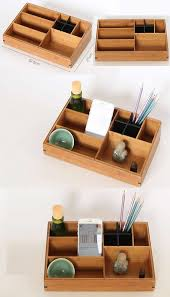 Bamboo Wooden Makeup Storage Organizer iPhone Cell Phone Holder Stand  Office Desktop Stationery Display Organizer Remote