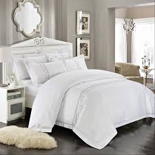 romorus 100 cotton tribute silk bedding set white embroidered hotel duvet cover set king queen size