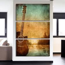 3 piece printed canvas wall art acoustic guitar pictures for living room office home decor