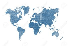 Blue Watercolor World Map Isolated On White Background