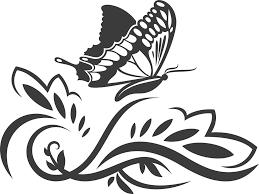 花のイラストフリー素材白黒モノクロno556白黒茎葉蝶カーブ