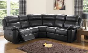 furniture brown faux leather curved sectional sofa plus round black recliner with wooden lamp table carpet