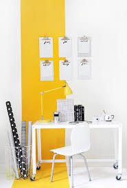 yellow office decor. my diy yellow stripe workspace office decor