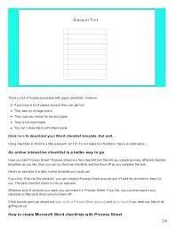 Microsoft Word Checklist Template Download Free New Download Your Free Word Checklist Template Downloadable Editable