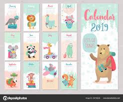 August Theme Calendar Calendar 2019 Cute Monthly Calendar Forest Animals Hand