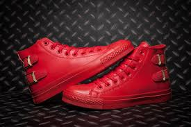 monochrome red converse all star buckles back leather high tops