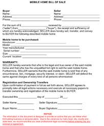 what is a bill of sale mobile home bill of sale form bill of sale sheets pinterest
