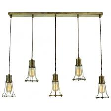vintage antique brass 5 light ceiling bar pendant