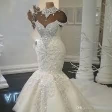 rhinestone wedding dress. Luxurious Rhinestone High Neck Wedding Dresses Lace Applique Crystal