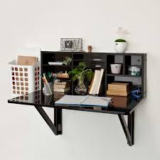 black wood wall mounted fold up desk with stationery shelves and white plastic file cabinet ideas