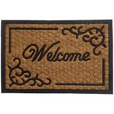 B&Q Black & Natural Coir & Rubber Door Mat (L)400mm (W)400mm | Departments  | DIY at B&Q