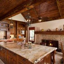 Wood ceiling kitchen Walls Rustic Kitchen With Vaulted Wood Ceiling Large Island Photos Hgtv Photos Hgtv