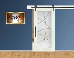 modern sliding barn door with frosted