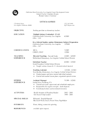 Sample Teacher Candidate Resume For Substitute Teaching And