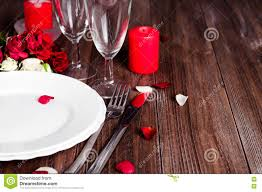 Candle Light Dinner Table Setting Romantic Candle Light Valentine Table Setting Stock Photo